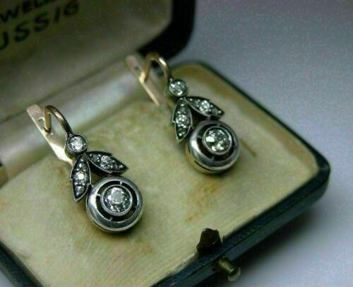 14K White Gold 2.1 Ct Diamond Engagement & Wedding Victorian Edwardian Earrings