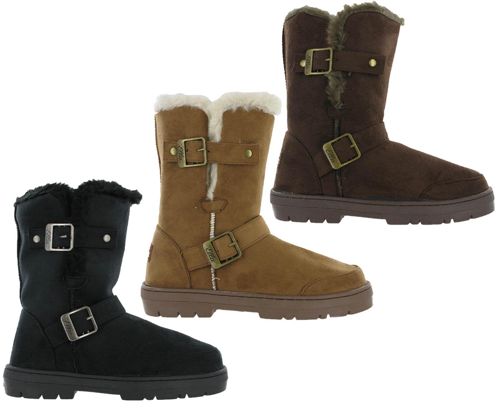 7b5cb8c44a6691 Details about Ella Fur Lined Alex Twin Buckle Snugg Warm Flat Womens Winter  Boots UK 3 - 8
