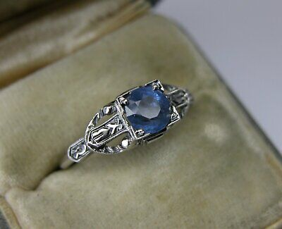 ANTIQUE ART DECO 14K GOLD SAPPHIRE ENGAGEMENT RING Antique Art Deco Ring