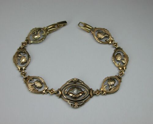 ANTIQUE VICTORIAN YELLOW GOLD OLD CUT DIAMOND BRACELET