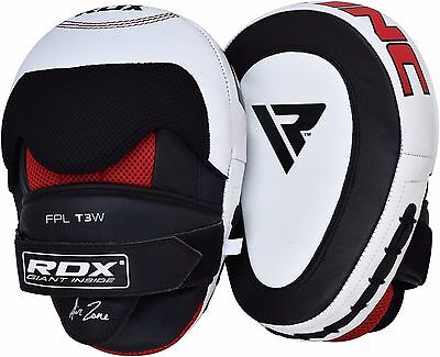 RDX Leather Smartie Focus Pads Mitts Hook Jab Punch Bag Kick Boxing Muay Thai ()