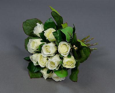 Rosenstrauß 22cm weiß-creme AD künstliche Rosen Blumen Kunstblumen Seidenblumen