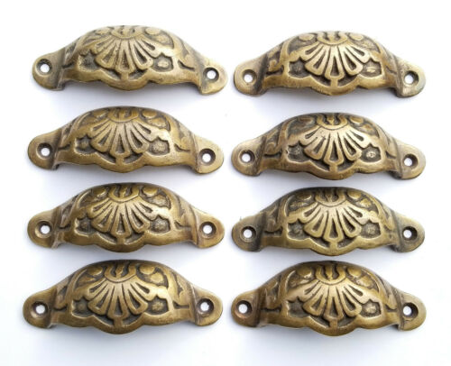 """8 Apothecary Drawer Cup Bin Pull Handles Brass Ant. Victorian Style 3""""cntr.  #A2"""