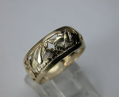 1940 ART DECO 14K GOLD ETERNITY BAND WEDDING RING  ANTIQUE FLORAL ENGRAVED
