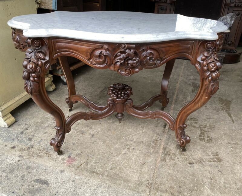 J. H. BELTER CARVED ROSEWOOD MARBLE TOP TABLE