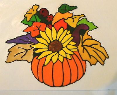 Window Color Fensterbilder Kürbis mit Sonnenblume und Herbstblättern