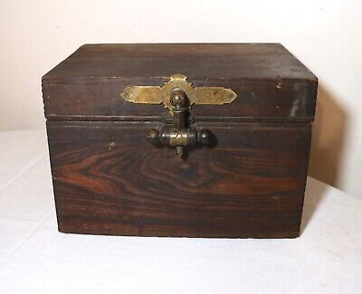 quality antique 1800's handmade wood brass Eastlake cigar humidor holder box