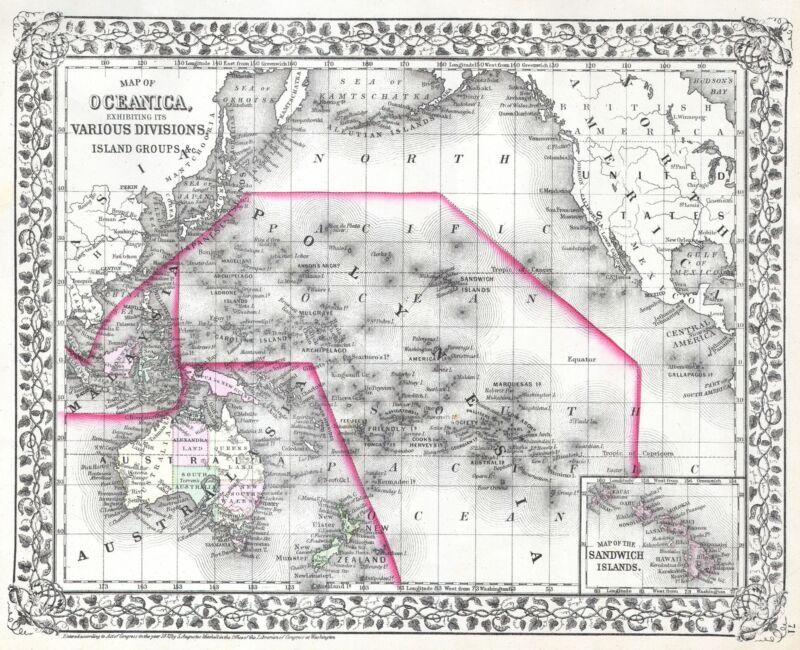 1872 Mitchell Map of Australia and Polynesia