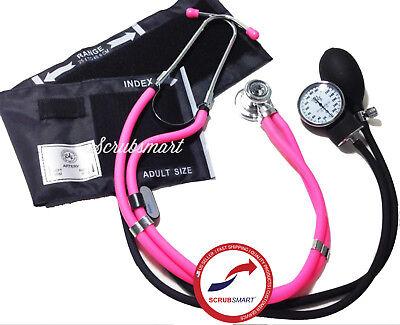 New Pink Sprague Stethoscope Aneroid Sphymomanometer Blood Pressure Set 340