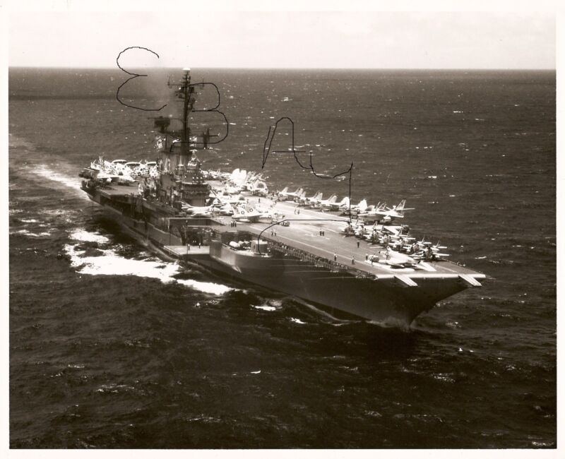 1963 11X14 US NAVY PHOTOGRPAH OF USS CORAL SEA CVA-43 IN ACTION AT SEA LOOK