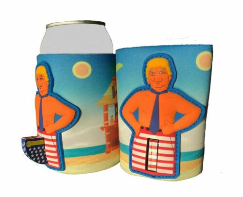 Donald Trump Novelty Can Cooler/Koozie Flag Pole Red White Blue Flag Coozie