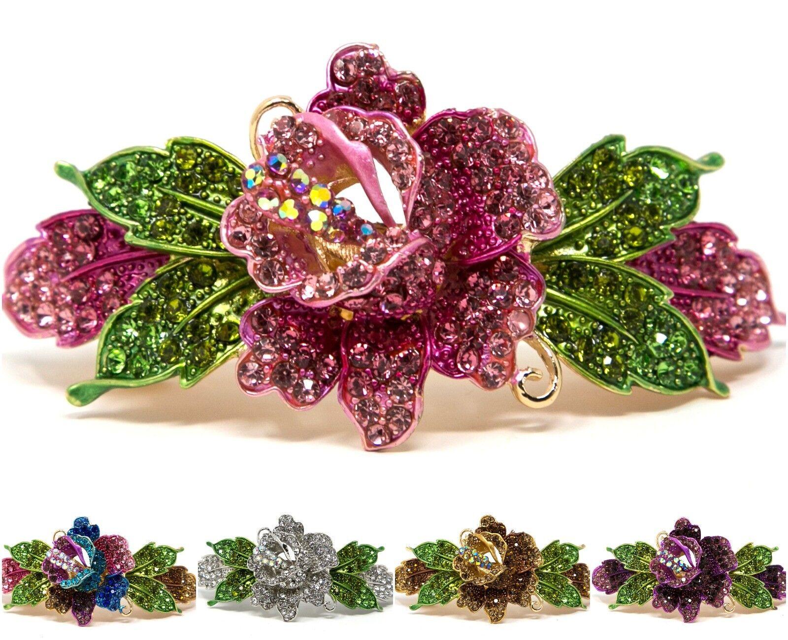 Woman metal Barrette rose flower rhinestones crystal hair cl
