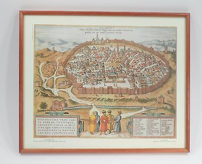 Framed Terra Sancta Arts Old World Birds Eye View Jerusalem Braun Hogenberg Map