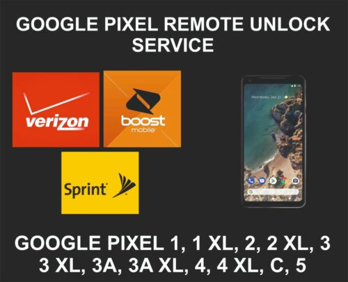 Google Pixel Remote Network Unlock Service, Pixel 1, XL, 2, 2XL, 3, 3XL, 4 4XL 5
