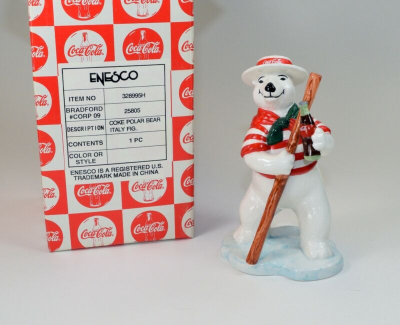 "Vintage 1997 Coca Cola Polar Bear ""Around the World-Italy"" New in Box!"