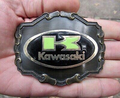 Vtg KAWASAKI Belt Buckle SIGN Motorcycle Raintree Brass RARE VG+