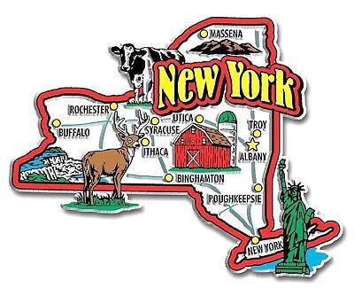 (New York Jumbo State Map Fridge Magnet)