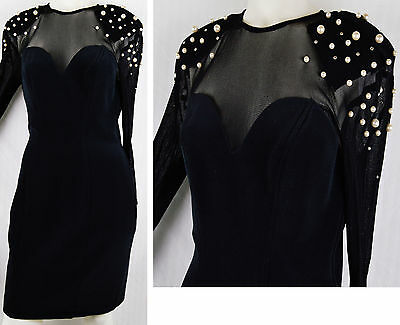 FAB 80s Sheer Mesh Sexy Bodycon Dress Jewel Shoulder Pearl Crystals Pantages