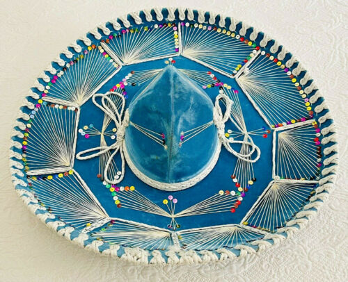 Authentic Pigalle Mexican Sombrero Turquoise Blue Velvet XXXXX Cinco de Mayo Hat
