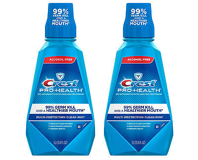 2x Crest Pro-Health Multi-Protection Alcohol-Free Mouthwash 1 Liter/33.8 oz Each