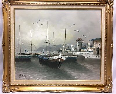 Original Oil Painting on Canvas Sailboats in Harbor with Water Seabirds Framed