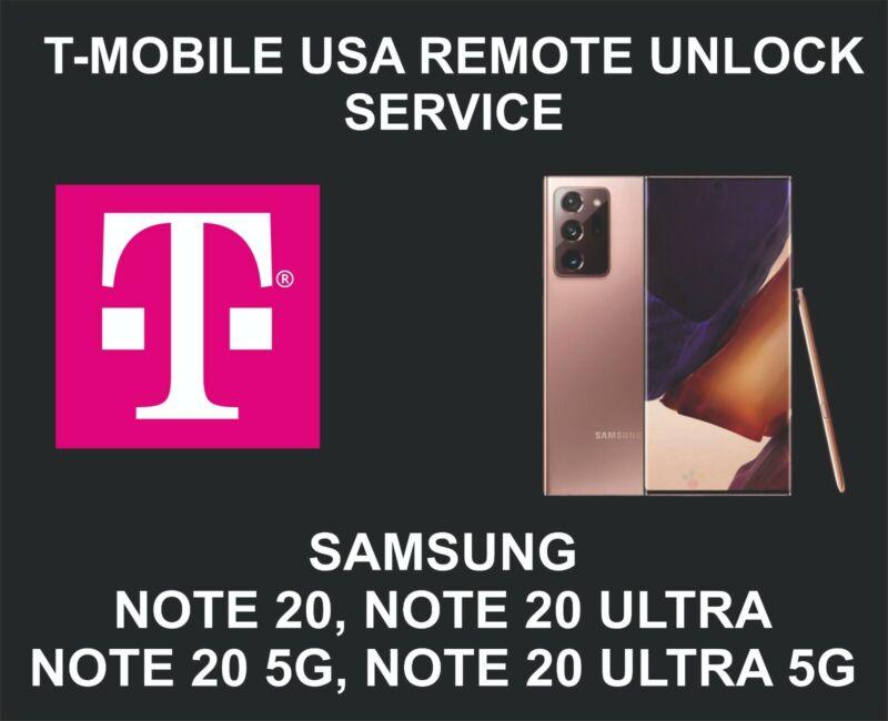 T-Mobile USA Remote Unlock Service, Samsung Note 20, Note 20 Ultra, 5G