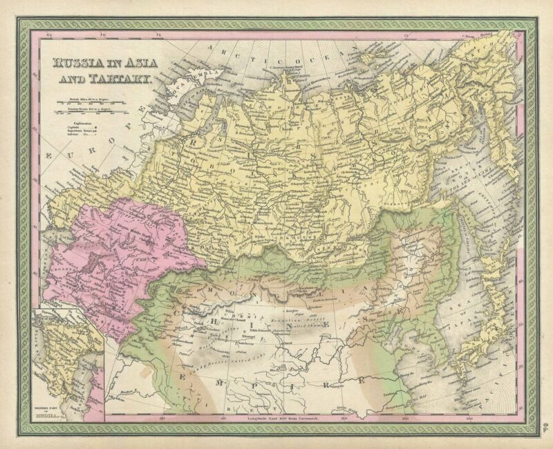 1849 Mitchell Map of Russia in Asia
