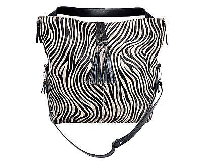 New Ladies Black Real Cow Fur Zebra Print Leather Shoulder Strap Handbag 4614