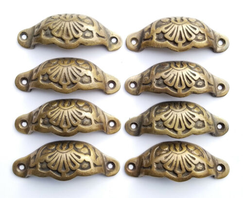 """8 Apothecary Drawer Cup Pulls Handles Ant. Victorian Style solid brass 3""""c. #A2"""