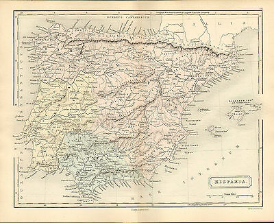 antient geography map by samuel butler 1869 - hispania