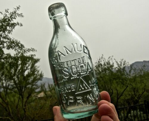 "antique NAPA CALIFORNIA ""SAMUEL SODA SPRINGS"" WESTERN BLOB TOP SODA BOTTLE NICE!"