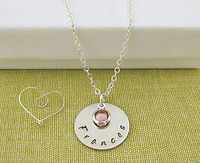 Hand Stamped Name Pendant (Children's Personalised Hand Stamped Name Pendant and Birthstone Necklace)