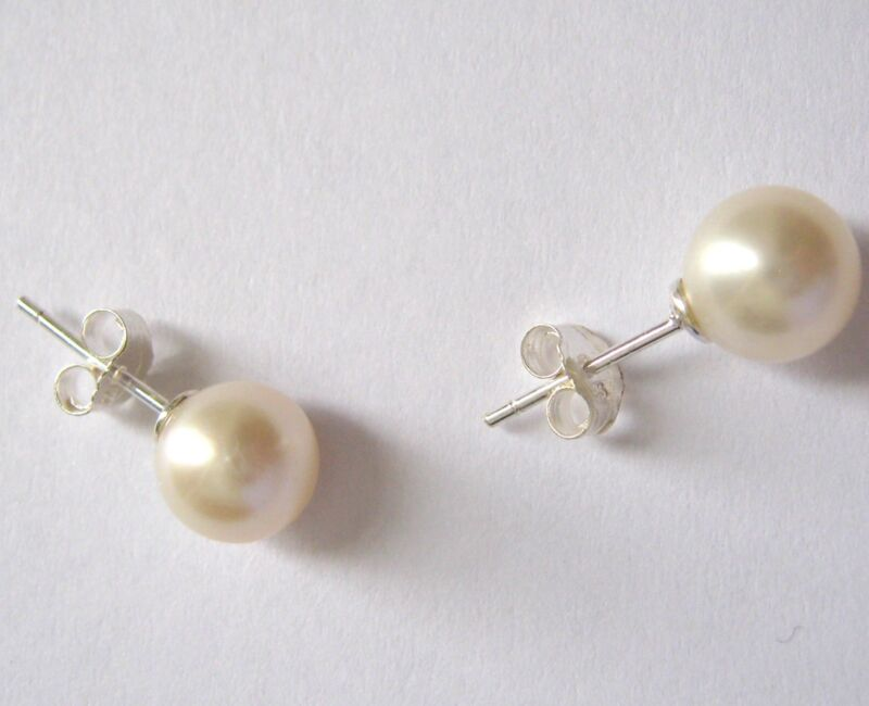 7-8mm Round White Cultured Pearl Earring Studs Sterling Silver .925 Butterfly Bk