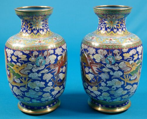 "Vintage Cloisonne 2 Dragons with 5 Claw 8 1/4"" Vase set of 2"