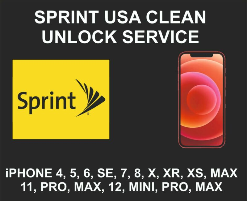 Sprint USA Clean Unlock Service, fits iPhone 7, 8, X, XR, XS, 11, 12, Pro, Max
