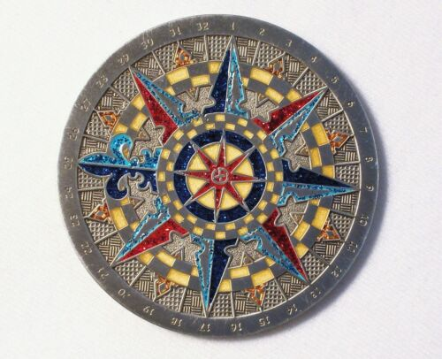 2007 Compass Rose  - Antique Silver with Polished Gold - New Unactivated Geocoin