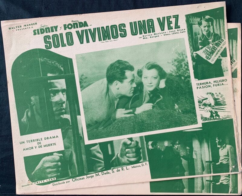 YOU ONLY LIVE ONCE Henry Fonda Sylvia Sidney (2) MEXICAN LOBBY CARDS 1937