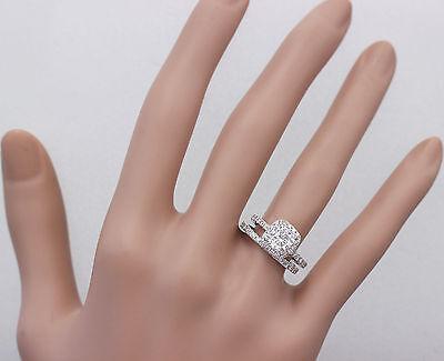 GIA G-VS2 18k White Gold Cushion Cut Diamond Engagement Ring And Band Halo 2.30c 2
