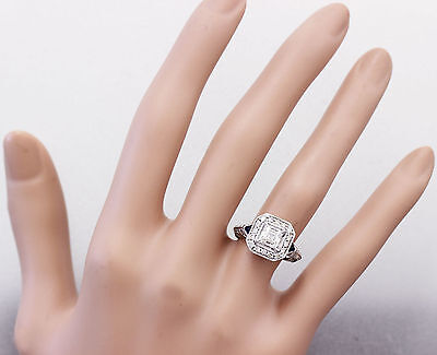 GIA F-VS2 18k White Gold Asscher Cut Diamond Engagement Deco Halo Ring 1.45ctw 4