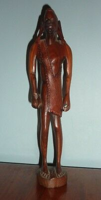 Vintage Crude Hand Carved Wooden Tribal African Maasai Warrior 12