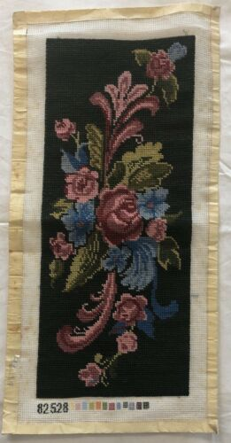 Completed Bucilla Needlepoint Canvas FLORAL BANNER 82528