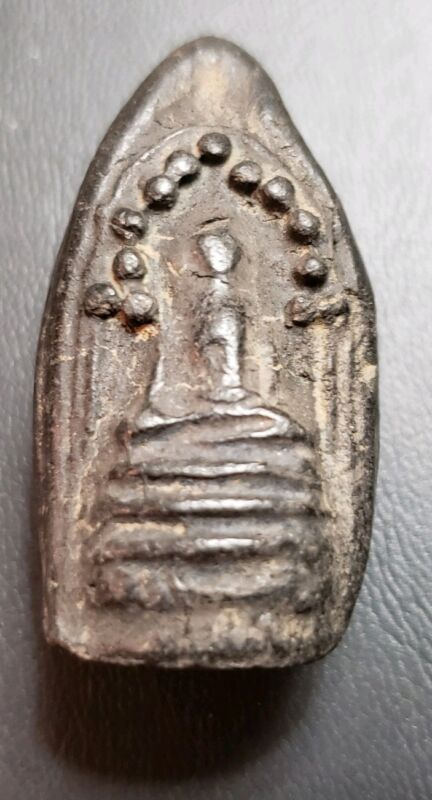 OLD THAI AMULET WITH BUDDHIST YANT ON REVERSE SIDE