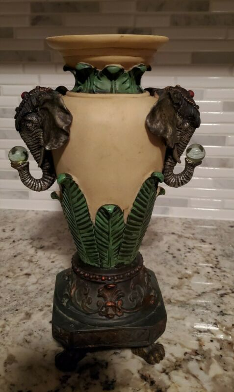 """Unique Jewel Elephant Palm Vase with Lions Feet 10"""" tall"""