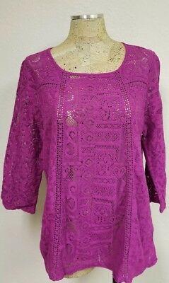 Fuchsia Crochet - Lucky Brand KNIT TOP BLOUSE Fuchsia CROCHET 3/4 Sleeve Pink Flowy XL EUC!