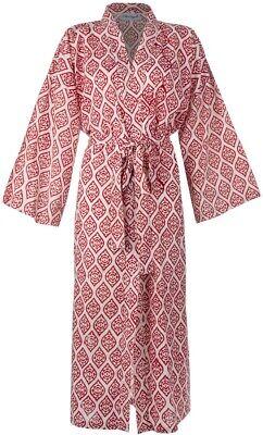 Kimono Bathrobe, 100% Organic Cotton, Lightweight Dressing Gown, Fits UK: 10-18