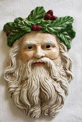 Vintage FATHER CHRISTMAS Porcelain Face SANTA Wall Hanging Holly Mask RARE