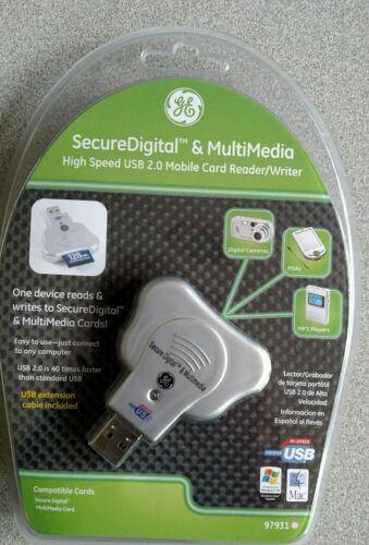 GE SD Secure Digital Card Reader + USB 2.0 6ft Extension Cab