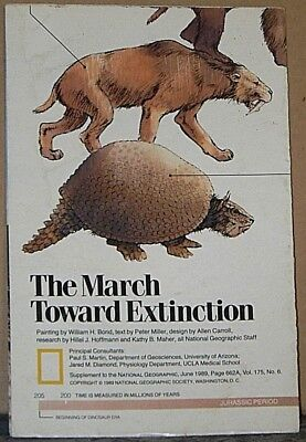 Vintage 1989 National Geographic Insert The March Towards Extinction