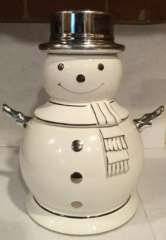 Slatkin & Co. White Ceramic Christmas Snowman Cookie Jar 2008