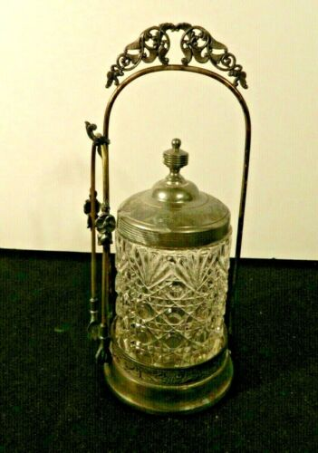 Antique Meriden Co Silver Plated Pickle Castor With Cut Glass Jar And Tongs